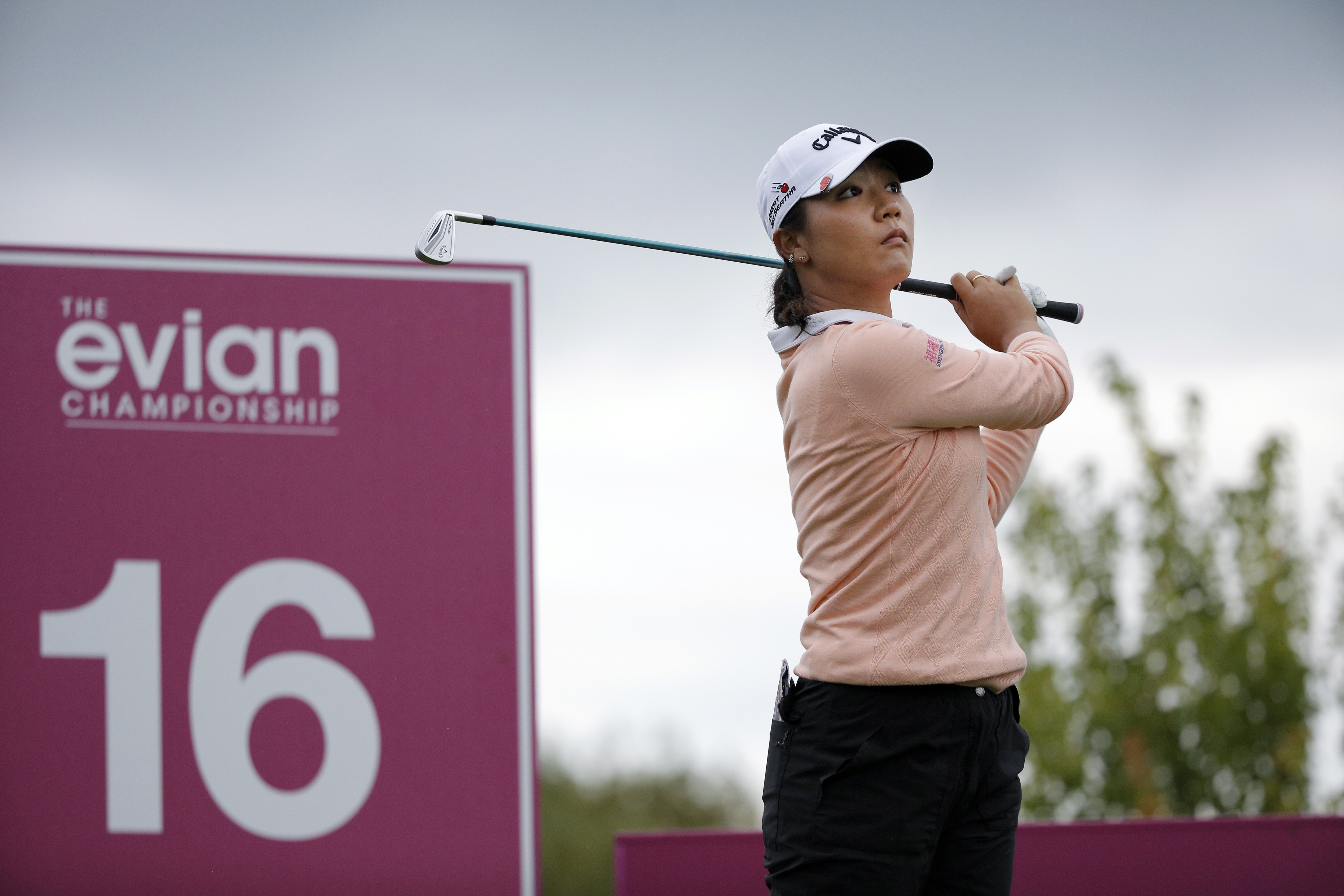 Lydia Ko of New Zealand follows the flight of her ball after playing on the 16th hole, during the second round of the Evian Championship women's golf tournament in Evian, eastern France, Friday, Sept. 16, 2016. (AP Photo/Laurent