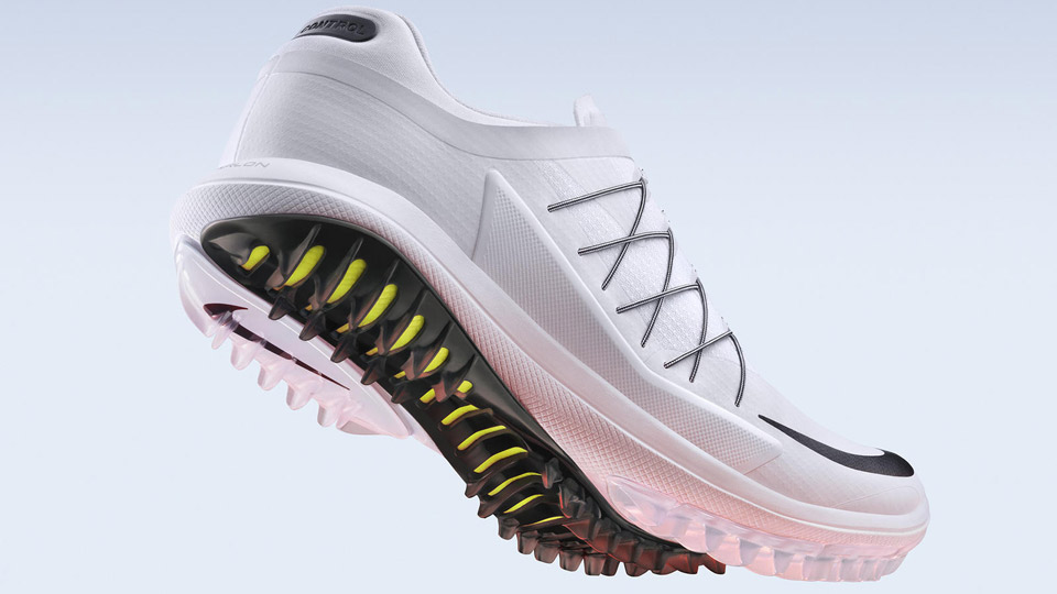 """A spikeless shoe with outsoles meant to mimic the traction created by snowmobile tires, Rory McIlroy tested the shoes earlier this year while practicing in the Bahamas. In addition to the traction system, the shoes come with a two-year waterproof guarantee and extra foam cushioning in the bottom.   <a href=""""http://www.pgatoursuperstore.com/nike-lunar-control-vapor-mens-golf-shoe-grey/1000000010644.jsp?site_referrer=golf.com"""" target=""""blank"""">BUY NOW</a>"""