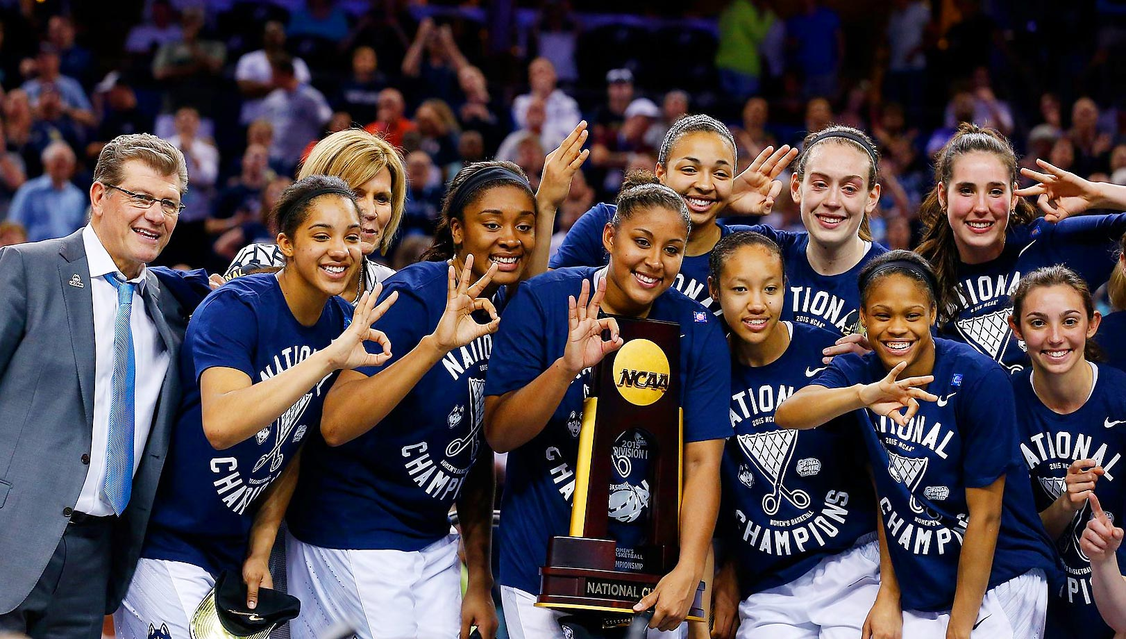 For the third consecutive year and 10th time in 21 years, the Connecticut women, led by coach Geno Auriemma, won the NCAA title. Unlike last year's squad, this Huskies iteration lost a game — just one, to Stanford in November — but UConn ended the season on a 35-game winning streak, which culminated in a 63-53 win over Notre Dame in the championship contest. For her performance during the season, forward Breanna Stewart was named AP Player of the Year, and she won her third straight Final Four Most Outstanding Player award as well. The Huskies have now reached 10 consecutive Final Fours, 15 of the last 16 and 20 of the last 22.                                      (Text credit: Alex Putterman/SI.com)