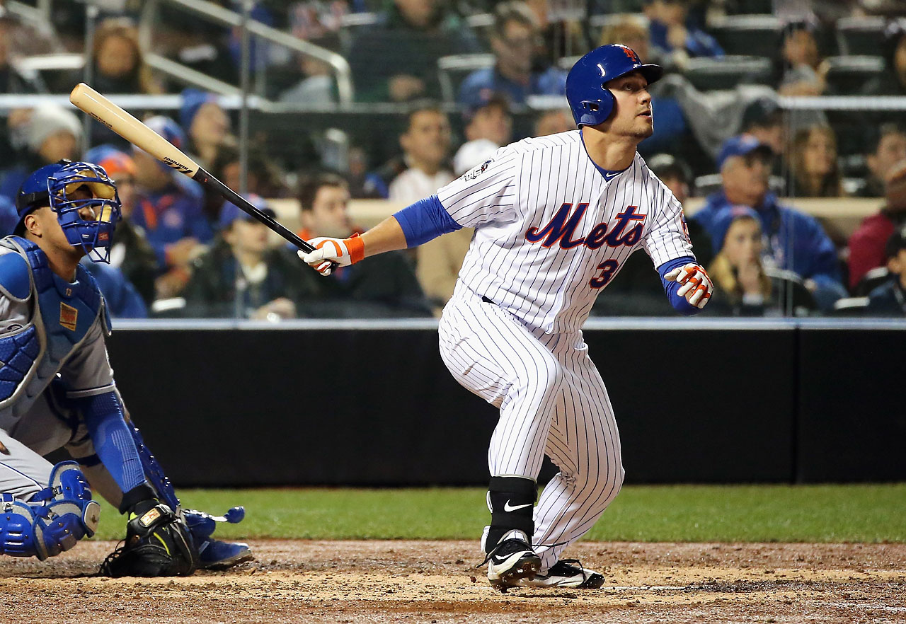Michael Conforto watches one of his two solo home runs leave the stadium, this one in the fifth inning against Danny Duffy.