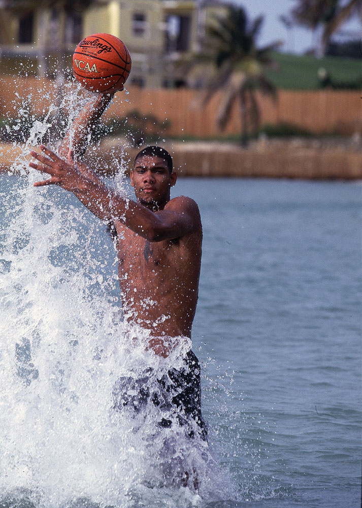 Tim Duncan getting in some exercise in the U.S. Virgin Islands the summer before beginning his sophomore year at Wake Forest University in 1995.