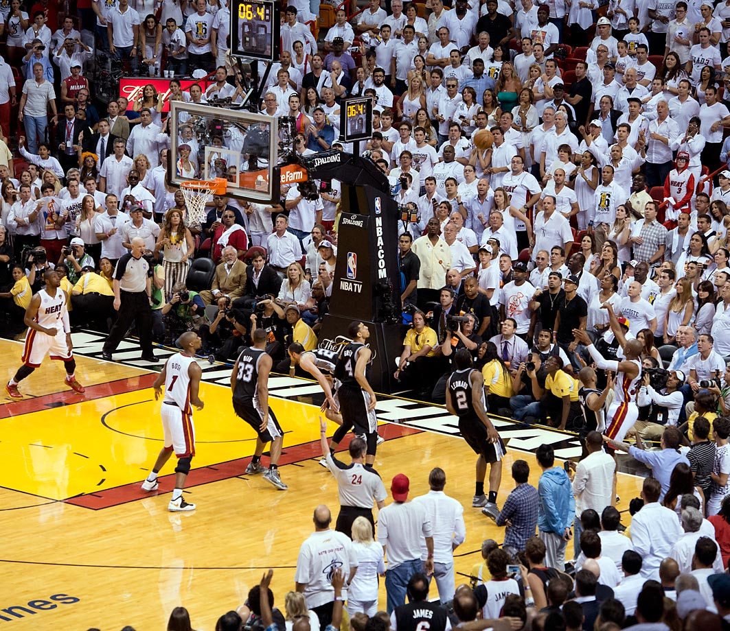 Ray Allen lets loose a series-changing three over Tony Parker in Game 6. With Miami down 3-2 in the series, it was the veteran Allen who sent the game to overtime and an eventual Heat victory. With a huge momentum boost, Miami went on to win the series.