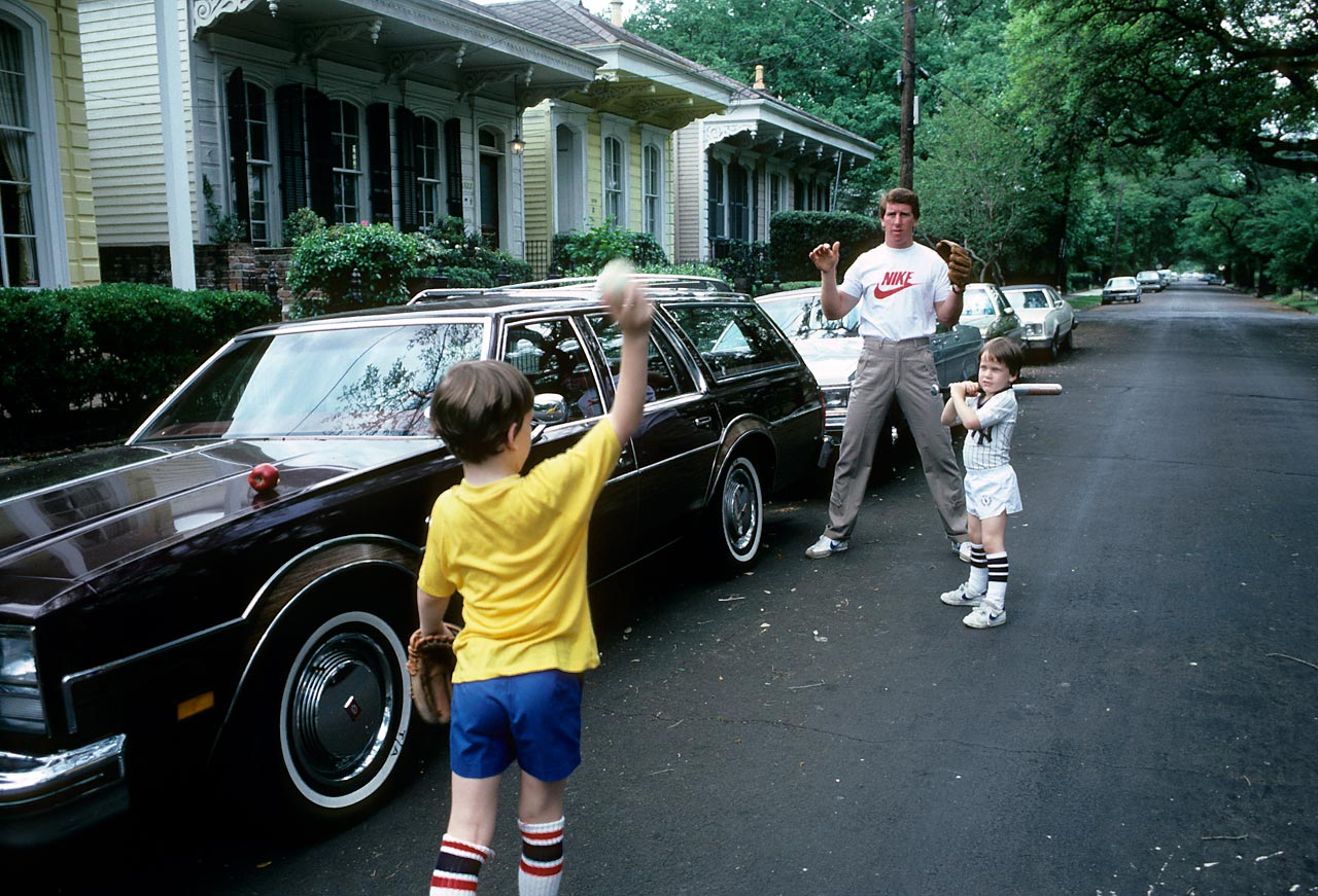 New Orleans Saints quarterback Archie Manning plays baseball with sons Peyton and Cooper. Not pictured is four-month-old Eli, who, knowing Archie, was likely hard at work practicing his spiral in his crib.