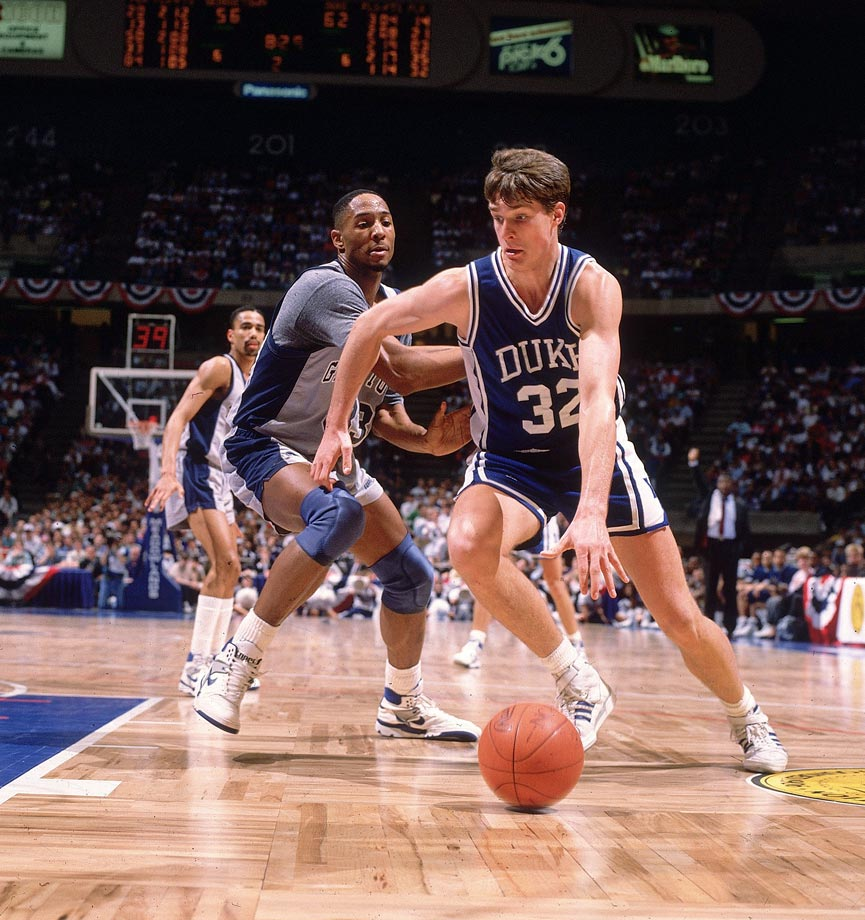 Christian Laettner (1988-1992): How many players make a buzzer-beating 15-footer to send their teams to the Final Four and have it be an almost forgotten part of their career? Only one: Christian Laettner. The 6-10 superstar pulled that feat off not once, but twice, first against Connecticut in 1990 and, more famously, two years later against Kentucky. The latter shot capped a perfect night for the 1992 Wooden Award winner: 10-for-10 from the field, 10-for-10 from the free throw line. Loved by Duke fans and hated by almost everyone else, Laettner was nonetheless a winner unlike few players in college basketball history: He played in four Final Fours and helped the Blue Devils win two national championships.