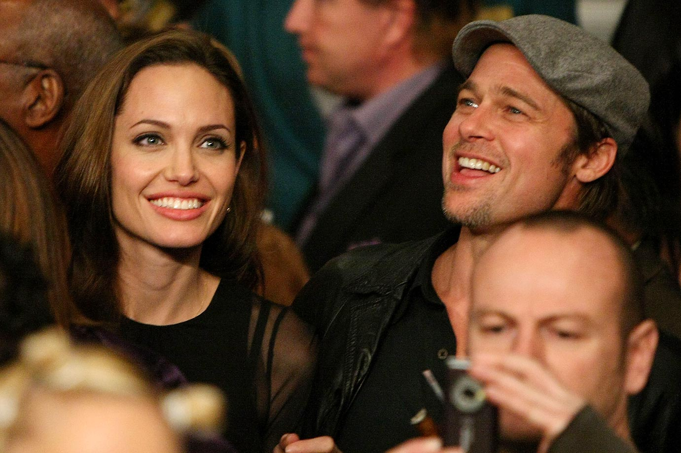 Angelina Jolie and Brad Pitt at Manny Pacquiao vs. Ricky Hatton.