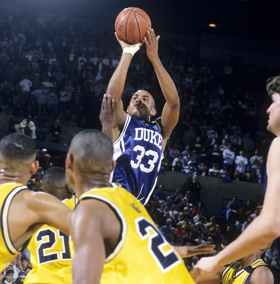 Grant Hill (1990-1994): His spectacular lob dunk early in the '91 title game over Kansas is sometimes overshadowed by his full-court pass to Christian Laettner that led to the latter's famous game-winner against Kentucky the next season, but both are representative of Hill's stellar combination of skills and athleticism. He averaged almost 15 points per game in his career, was a two-time All-America and helped the Blue Devils win national titles his first two seasons, then nearly dragged them to a third as a senior. With a supporting cast that largely sank to the bottom of the ACC without him (and Coach K) the next year, Hill averaged 17.4 points per game in 35.7 minutes, but Duke lost the title game to Arkansas in the final minute.