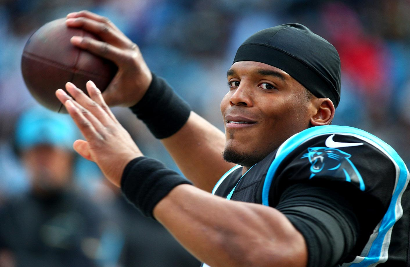 Cam Newton threw 35 touchdown passes during the 2015 regular season and was intercepted 10 times.                                                               Text credit: Daniel Hersh