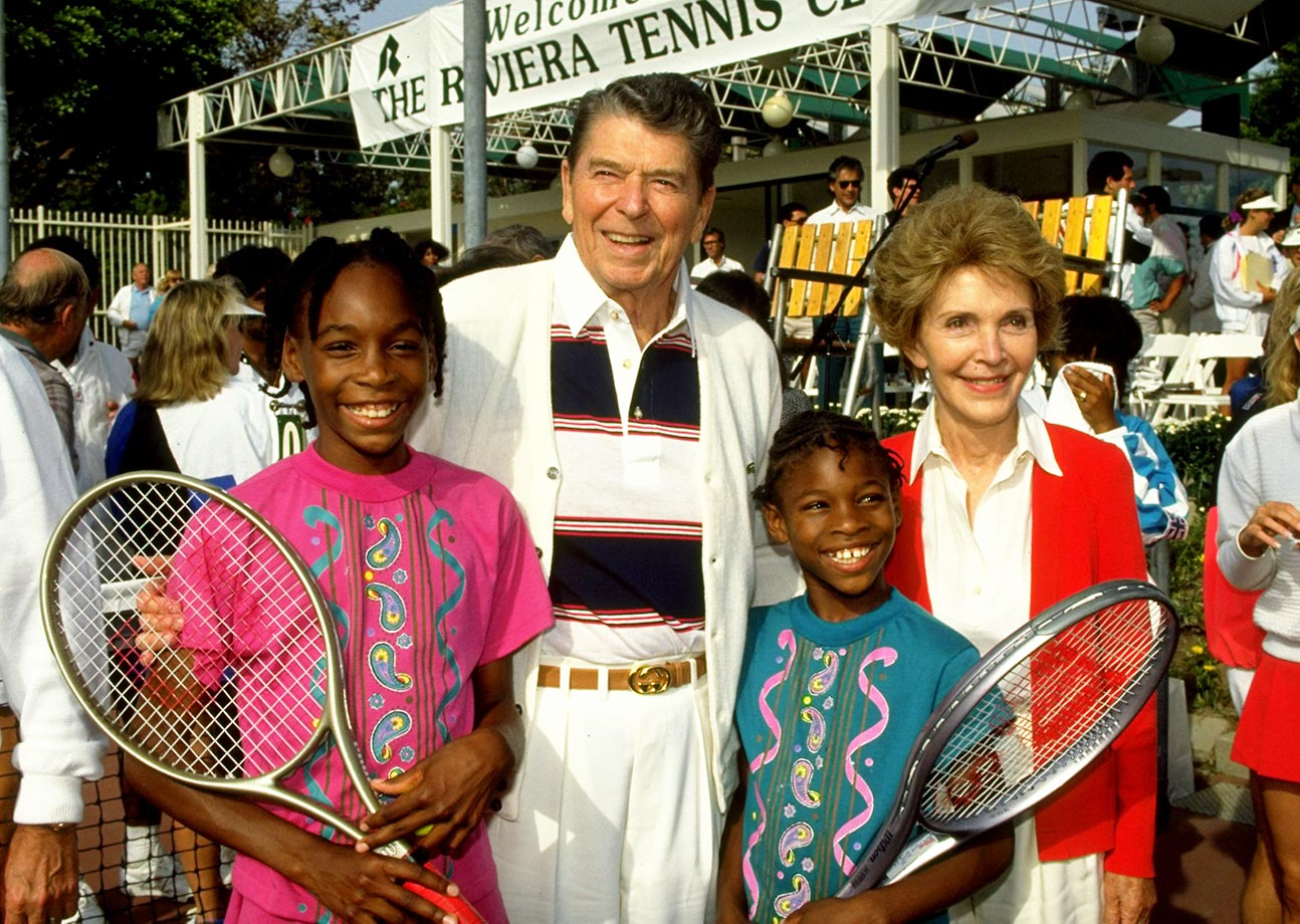 All five of the Williams sisters were exposed to tennis at an early age, but Venus and Serena seemed to display the most interest and strongest prospects. Here the sisters stand with President Ronald Regan and his wife, Nancy.