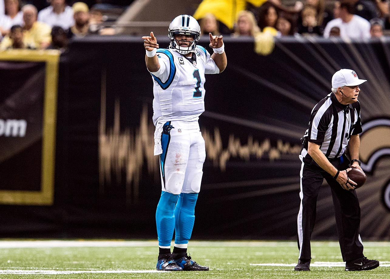 Cam Newton gestures after completing a first down during a game in New Orleans. He threw for 226 yards with three touchdowns and no interceptions in the 41-10 victory.                                                               Text credit: Daniel Hersh