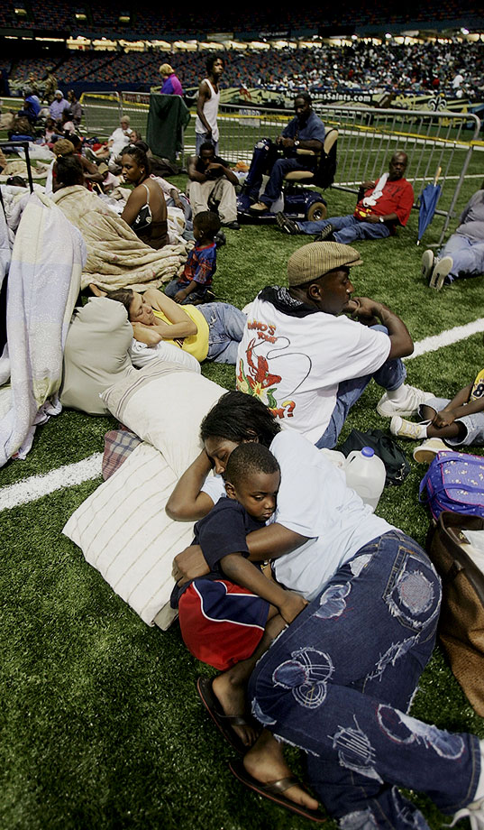 Aug. 28, 2005: Katrina becomes a Category 5 storm with winds swirling at 160 mph. In the morning, New Orleans mayor Ray Nagin orders a mandatory evacuation of the city. About 14,000 residents unable or unwilling to leave New Orleans take shelter at the Superdome.