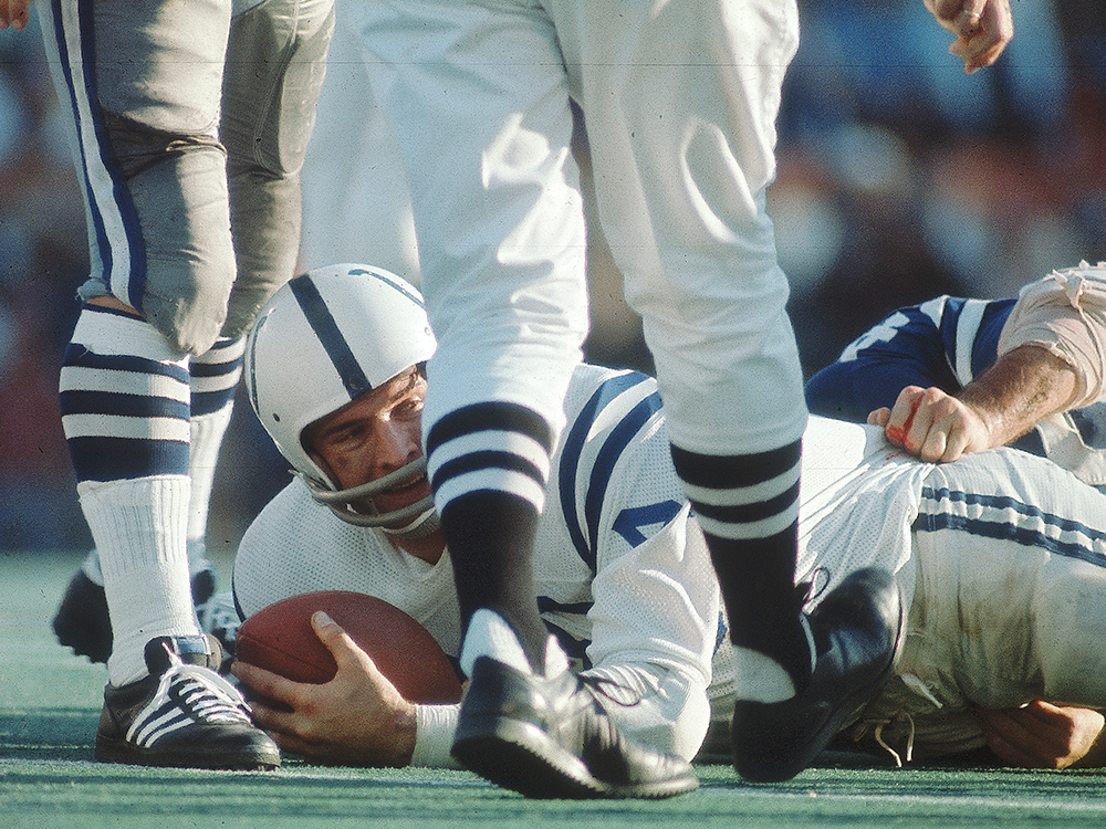 Sometimes even elite pro athletes make mistakes. That was never more apparent than when the Baltimore Colts beat the Dallas Cowboys in a game so error-filled it was nicknamed the Blunder Bowl. The two teams combined for 11 turnovers. Dallas had more penalties (10) than first downs (nine) and still only lost by a field goal. Fittingly, a defensive player from the losing team, Chuck Howley, was named MVP.