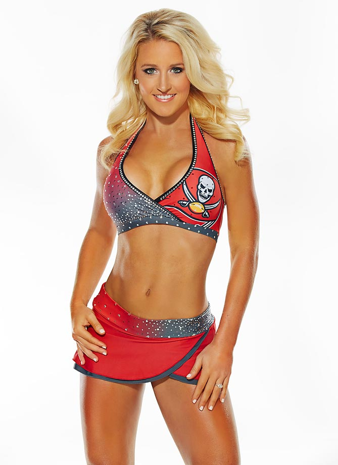 "Meet Cassie of the Tampa Bay Buccaneers, who loves fishing with her family and then eating the freshly cooked fish. Cassie's favorite website is SI.com... ""I always look forward to viewing the NFL Cheerleader album each week in the fall!"""