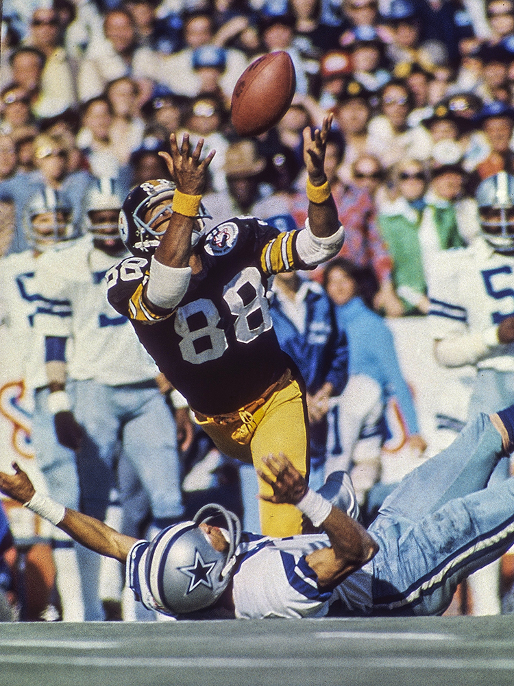 He soared, juggled, and stumbled. It wasn't pretty. But that didn't matter. Pittsburgh wide receiver Lynn Swann caught the pass. With the Steelers facing third-and-six at their own 10-yard line in the second quarter, Terry Bradshaw launched a bomb downfield. Swann jumped up and got his hands on the ball, but Dallas Cowboys cornerback Mark Washington knocked it free. Swann then tipped the ball before grabbing it as he fell to the ground at midfield. It was the second high-flying catch of the game for Swann, who added a 64-yard TD in the fourth quarter. He was named MVP in the Steelers' 21-17 win.