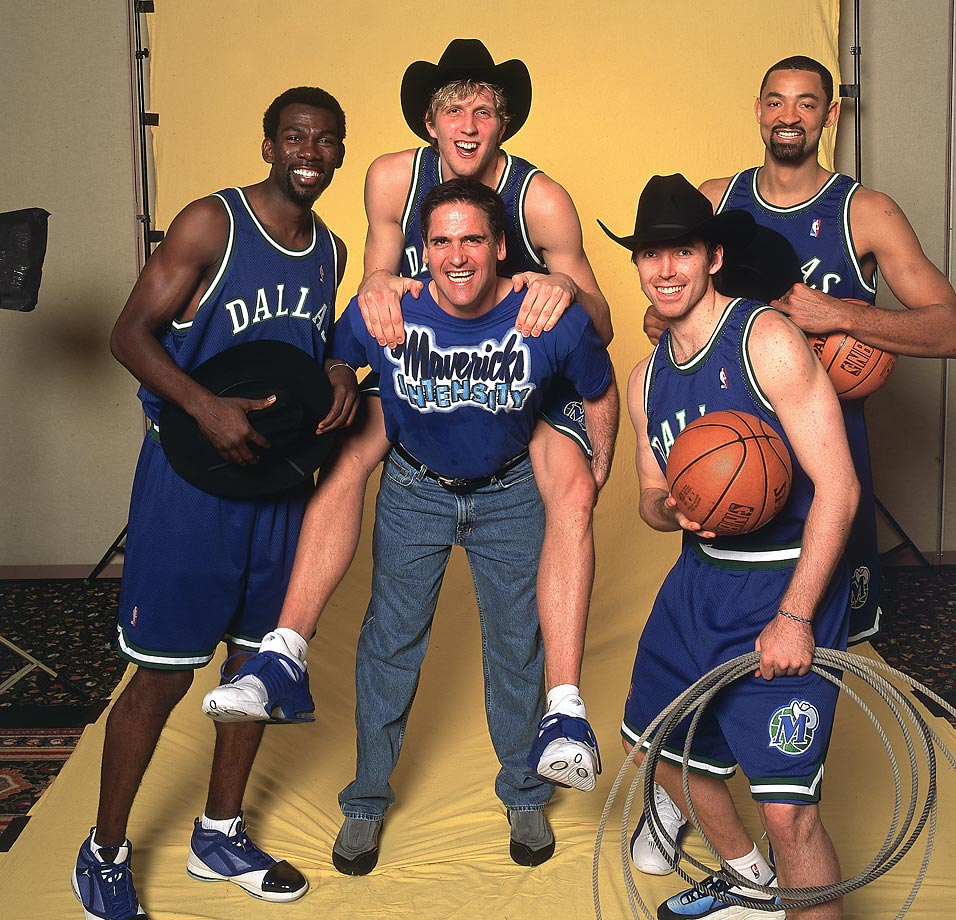 Though none of these are native Texans, Mavericks owner Mark Cuban, along with players Michael Finley, Dirk Nowitzki, Steve Nash, and Juwan Howard, try to pull off their best cowboy impressions for a 2001 photo shoot.