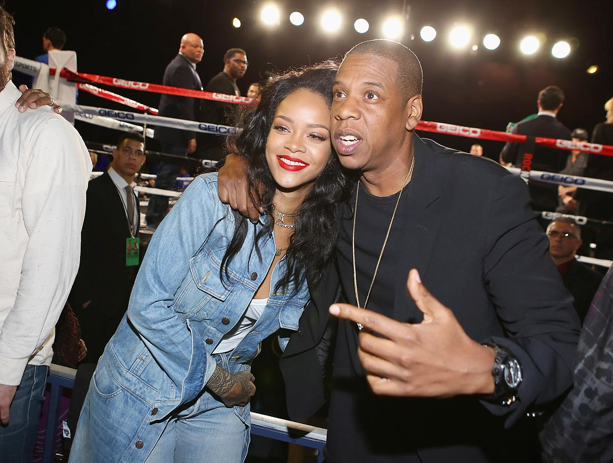Rihanna and Jay Z attend the 2015 Throne Boxing Fight Night.