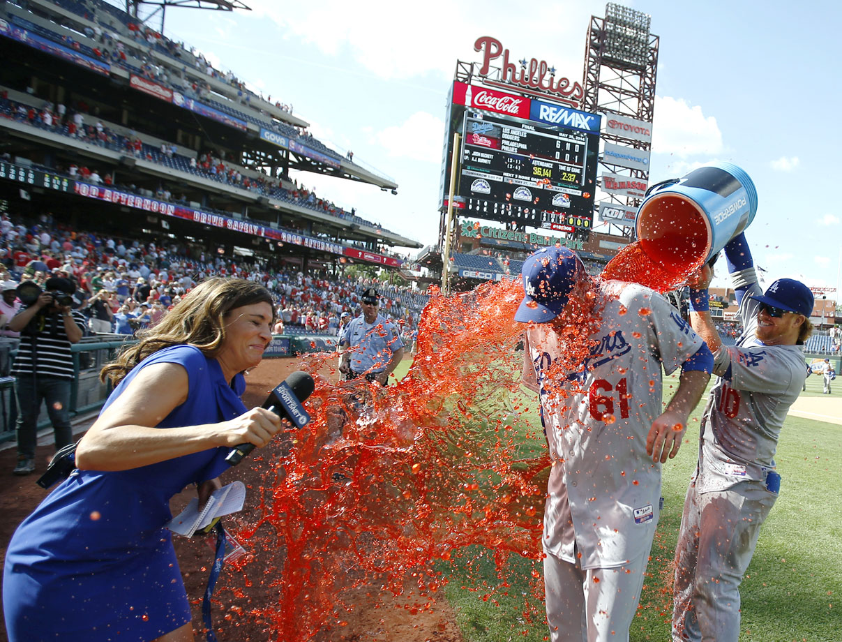 Josh Beckett is doused by teammate Justin Turner after throwing his first career no-hitter in the Dodgers 6-0 win over the Phillies.