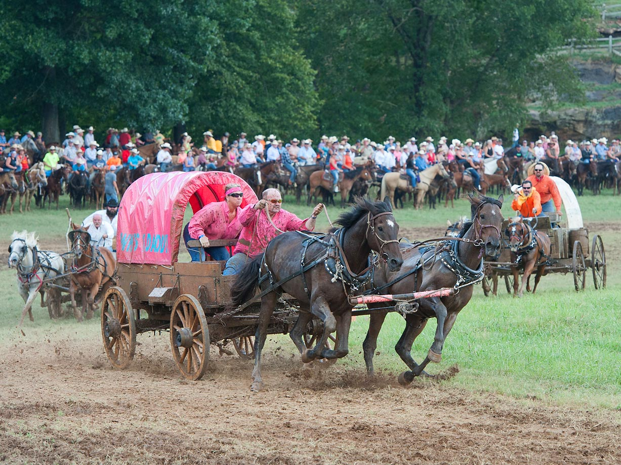 "Team ""Who's You're Daddy"" of the Classic Wagon race team during the first heat."