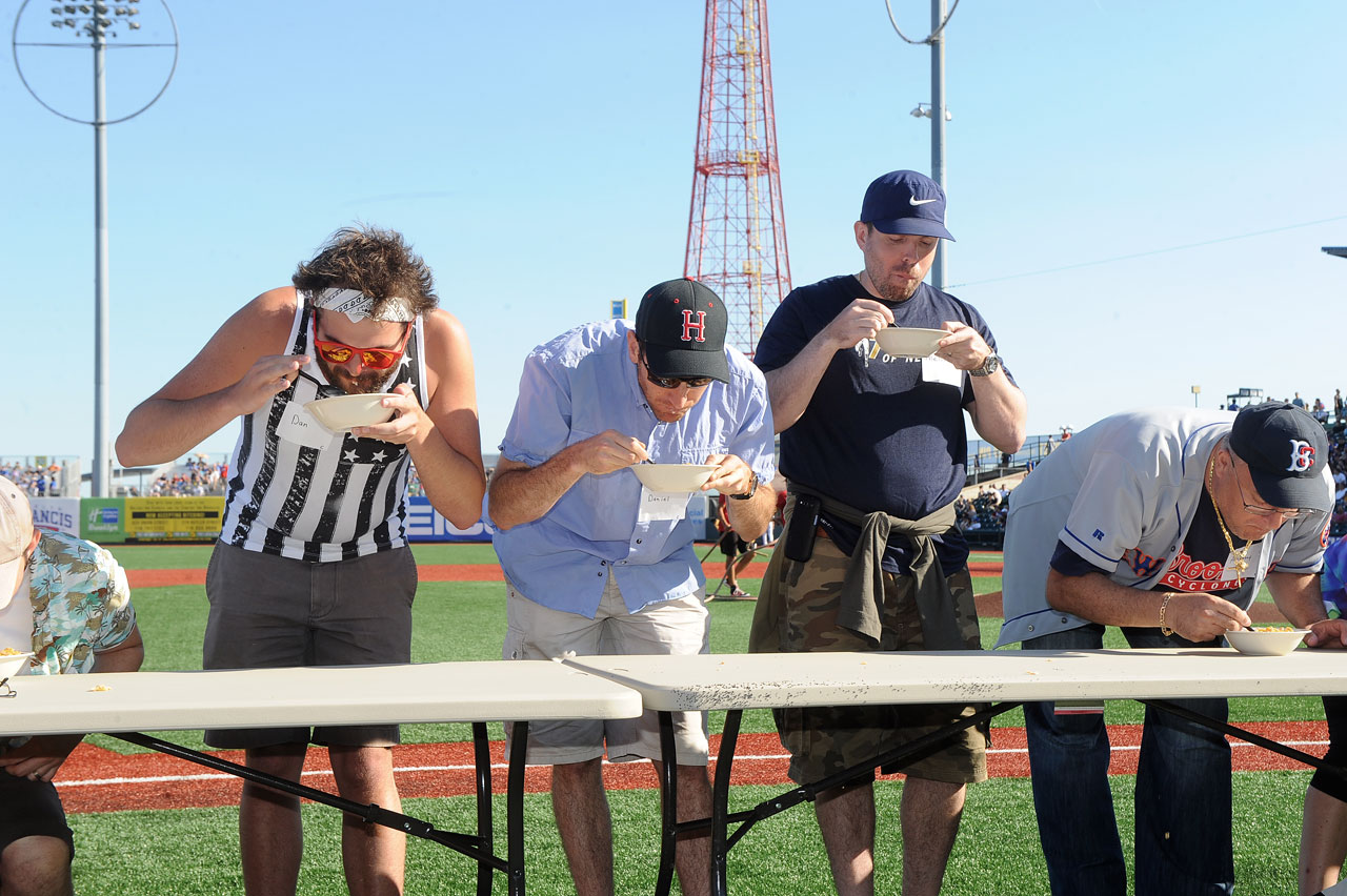 Contestants chow down during the cereal eating contest.