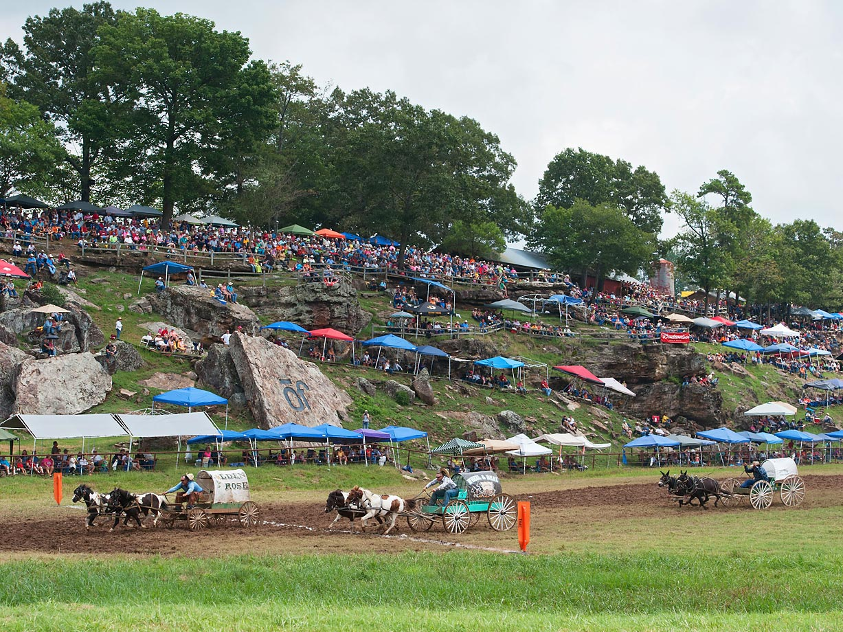Wagons cross the finish line during the Oklahoma Land Rush.