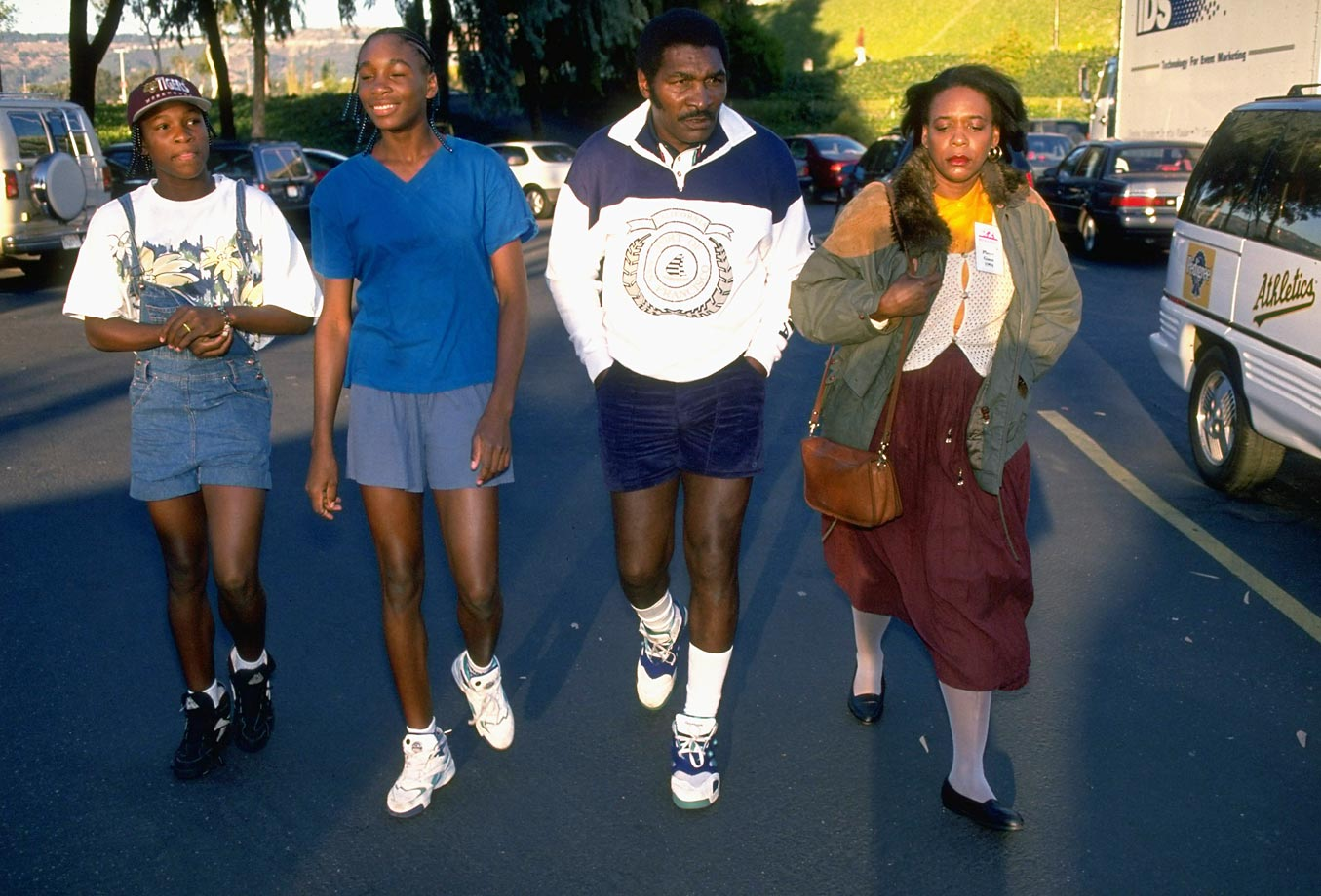 Serena was on hand for Venus's pro debut at Oakland-Alameda County Coliseum Arena in October 1994. The family, including mom Oracene, are pictured here before that event.
