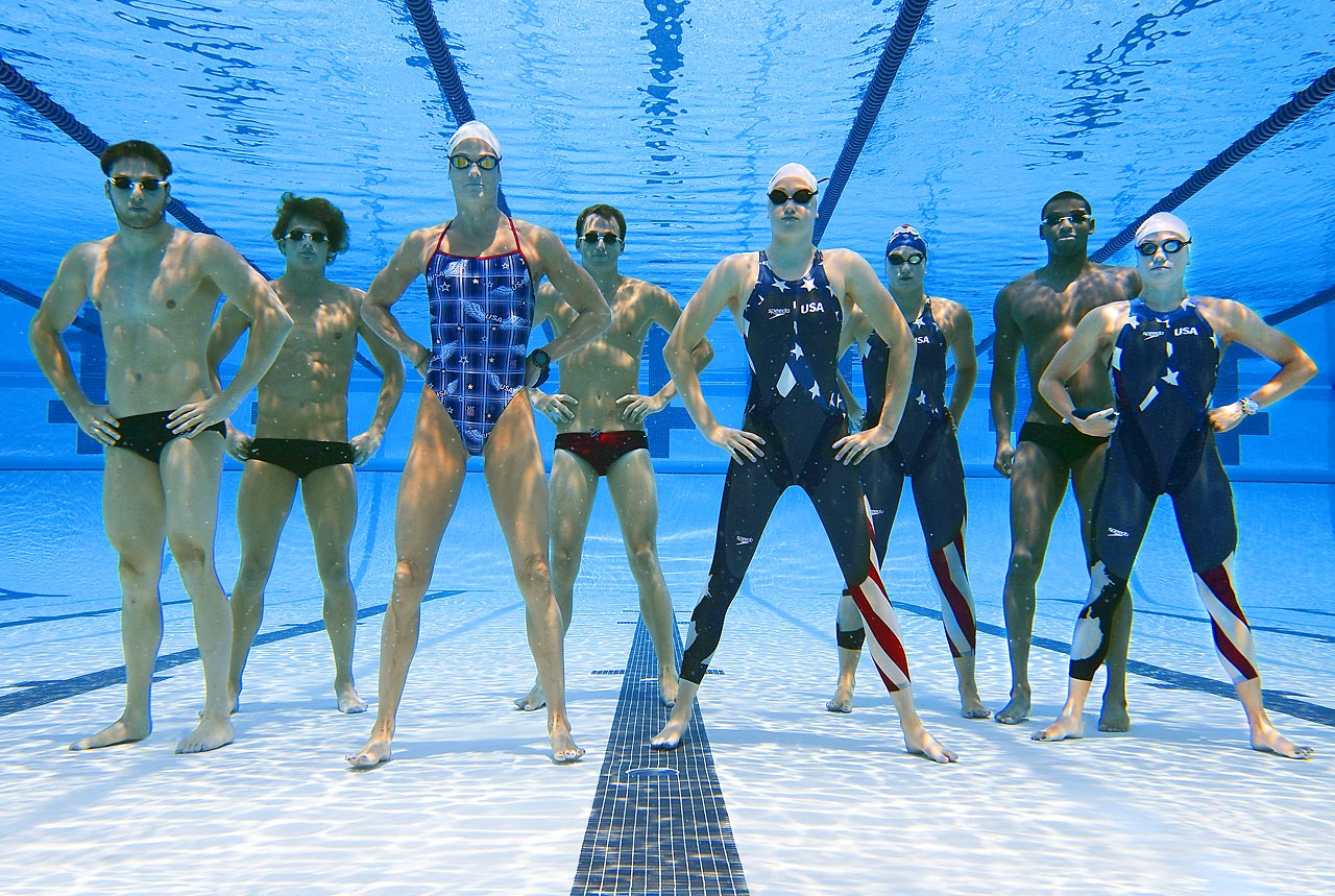 Members of the 2008 USA swim team: (from left): Garrett Weber-Gale, Ryan Lochte, Dara Torres, Aaron Piersol, Katie Hoff, Margaret Hoelzer, Cullen Jones, Natalie Coughlin.