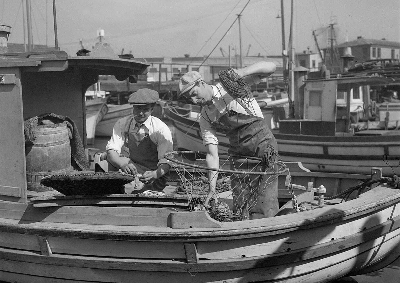 DiMaggio, right, with his brother, Mike, on the family fishing boat in San Francisco in October 1936. The Yankee Clipper was coming off a rookie season in which he hit .323 with 29 home runs as the New York won the first of four straight World Series titles. The following summer, DiMaggio hit a career-high 46 home runs.