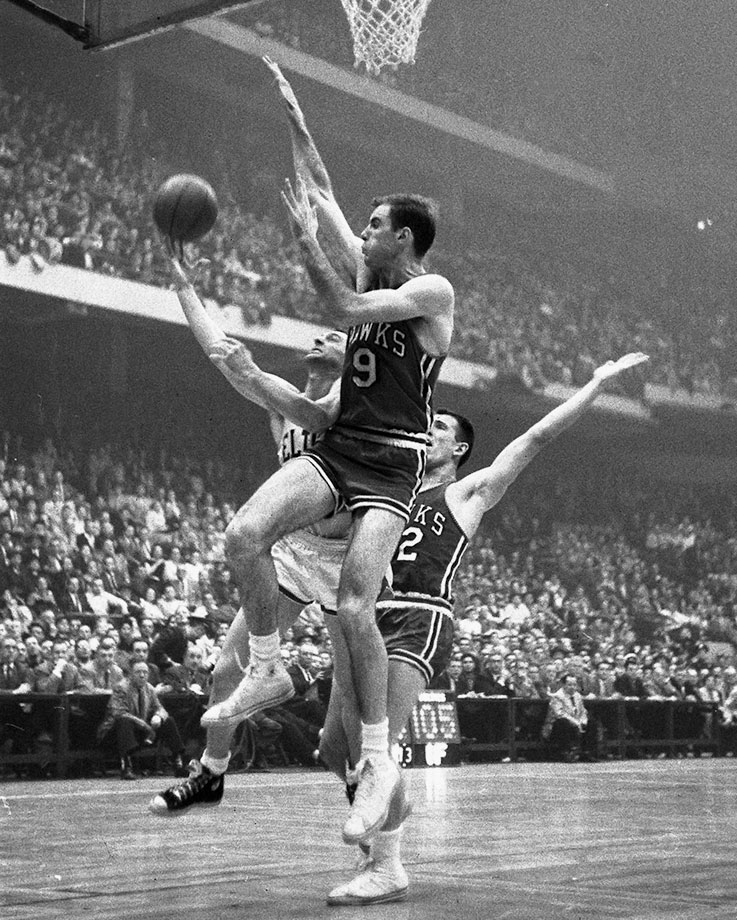 The St. Louis Hawks were the only team to defeat the Bill Russell's Boston Celtics in an NBA Finals series, with Pettit leading St. Louis to the 1958 title. Pettit took home regular season MVP honors in 1955 and 1959 and led the Hawks to four Finals appearances. He was an All-Star in each of his 11 seasons. — Runner-up: Tony Parker