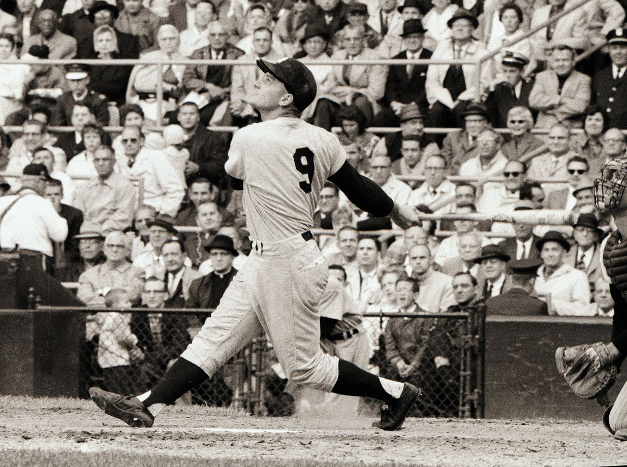 Maris made his mark on baseball history by becoming the sport's single-season leader in home runs with 61, breaking Babe Ruth's 34-year-old record and establishing one that would stand until 1998, when it was broken by Mark McGwire. Maris joined the Yankees in 1960 after stints in Cleveland and Kansas City and promptly won the MVP in his first season in New York thanks to an American-League best 112 RBI. He won the MVP again in '61 for his record-setting season. Maris won two titles and was a three-time All-Star with the Yankees, spending seven years in the Bronx until he was traded to St. Louis in 1966. He retired in 1968.