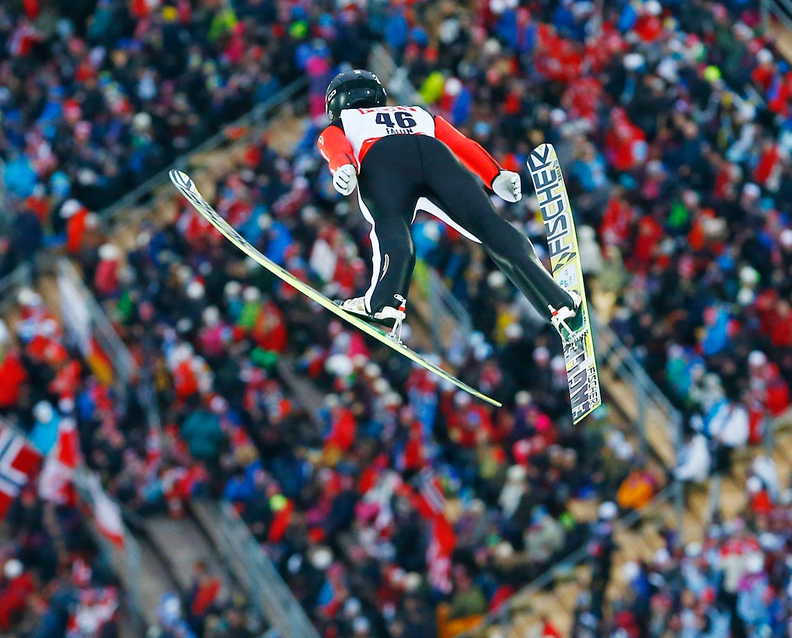 Czech Republic's Roman Koudelka soars during the trial jump at the Large Hill Individual competition at the Nordic Skiing World Championships in Falun, Sweden.