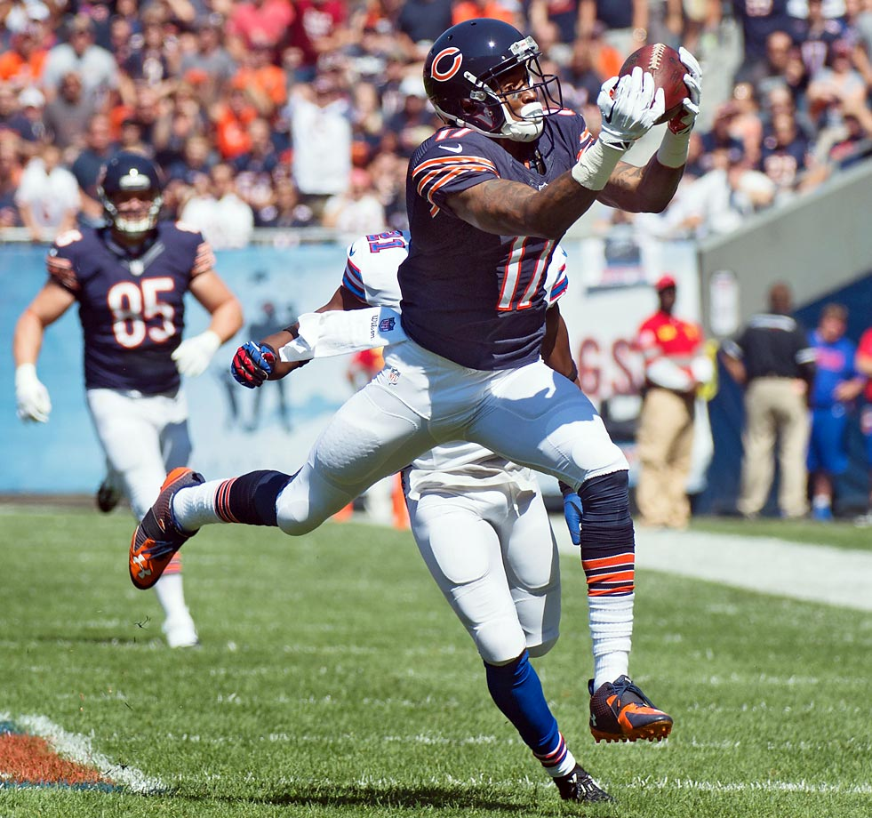 Chicago's Alshon Jeffery pulled in five passes for 71 yards against the Buffalo Bills.