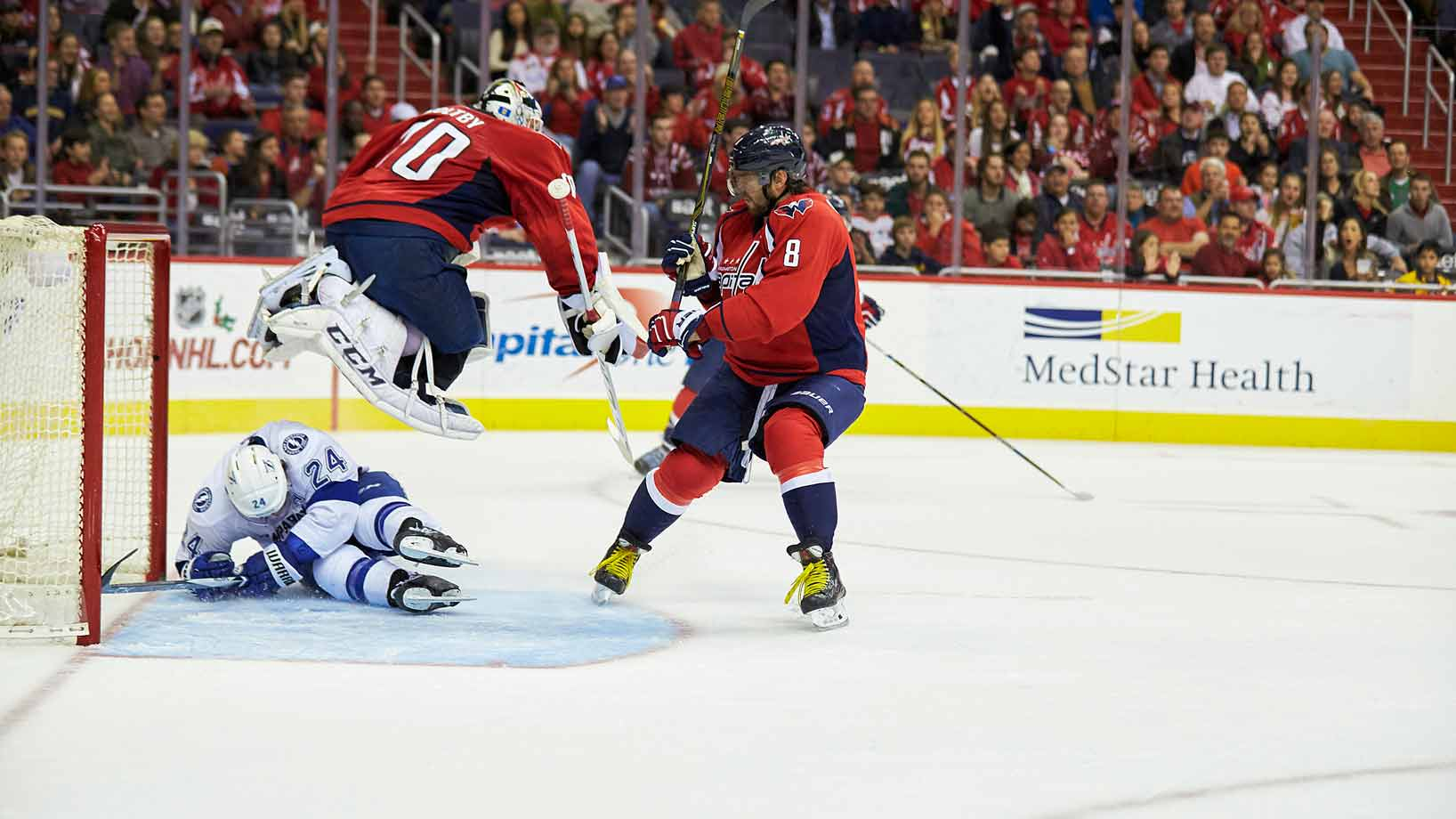 On Nov. 27, 2015 the final horn sounds at 7:46 p.m. as the Capitals beat the Tampa Lightning, 4-2, at home. Goalie Braden Holtby stopped 32 shots and Alex Ovechkin (right) scored his 12th goal of the season.