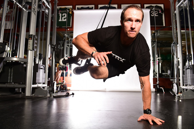 "ONE-ARMED CATAPULT: Having his feet elevated creates an ""unstable environment,"" says Brees, forcing other muscle groups to work overtime. 