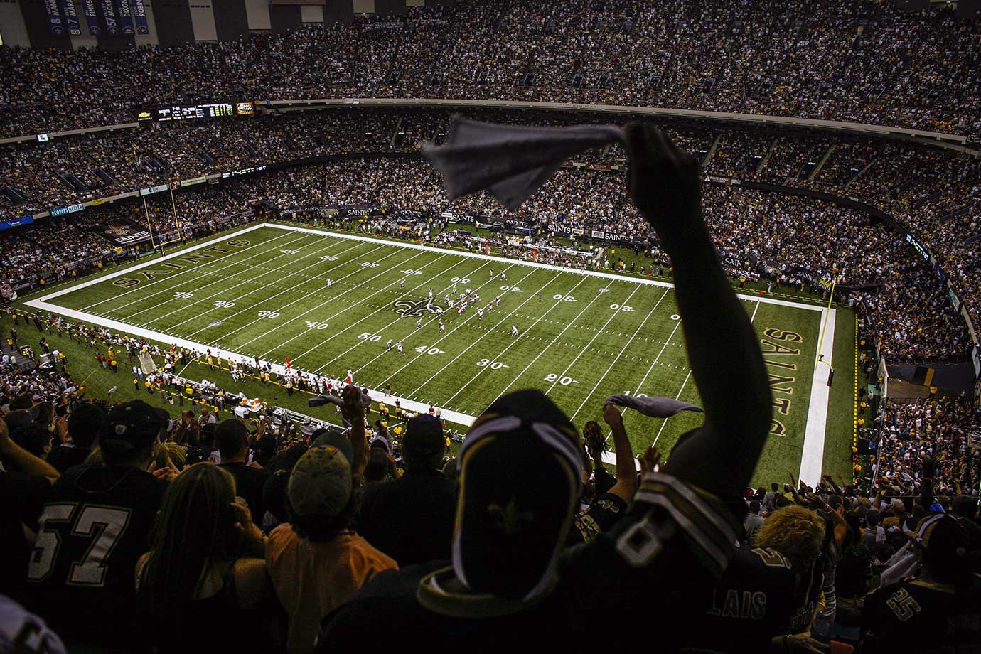 Sept. 25, 2006: Saints fans cheer during the team's first game back at the Superdome.