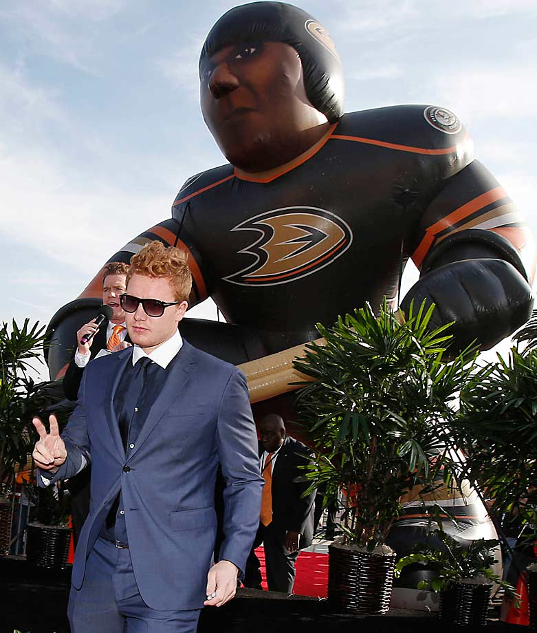 The Ducks' answer to New York's dapper netminder Henrik Lundqvist greeted fans before the team's home opener against Minnesota at on Oct. 17. Andersen was named the NHL's Second Star of the Week.