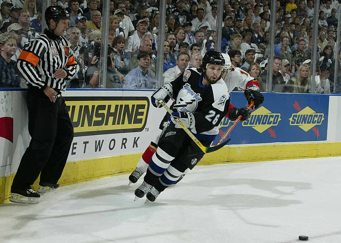 The season before the lockout, the diminutive winger became a bona fide star by leading the NHL in scoring (94 points), winning the Hart Trophy, and sparking the Lightning to the Stanley Cup. He later posted five straight 80-point campaigns, including a career-high 102, between 2006-07 and 2010-11. He's also added another Hart, and Art Ross, and three Lady Byngs, and now stands just short of a career milestone with 981 career points.