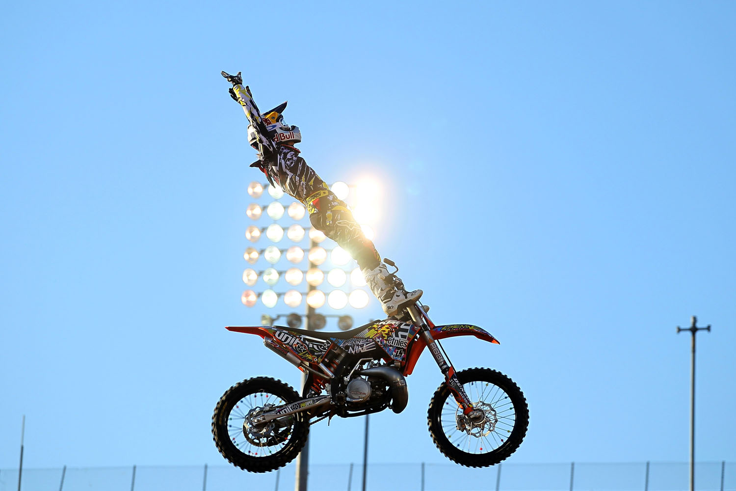 Levi Sherwood does a stunt during the Moto X Freestyle final at the LA Coliseum during X Games 16 on July 29, 2010 in Los Angeles, California.