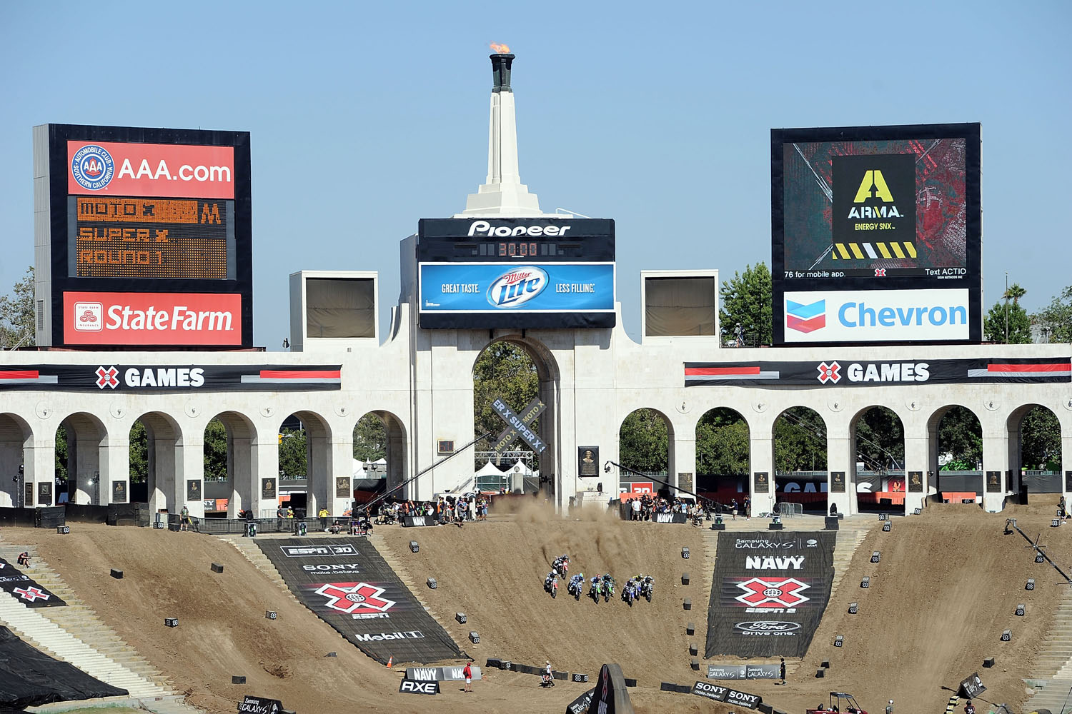 Competitors start in the Moto X Super X event during X Games 16 at the LA Coliseum on July 29, 2010 in Los Angeles, California.