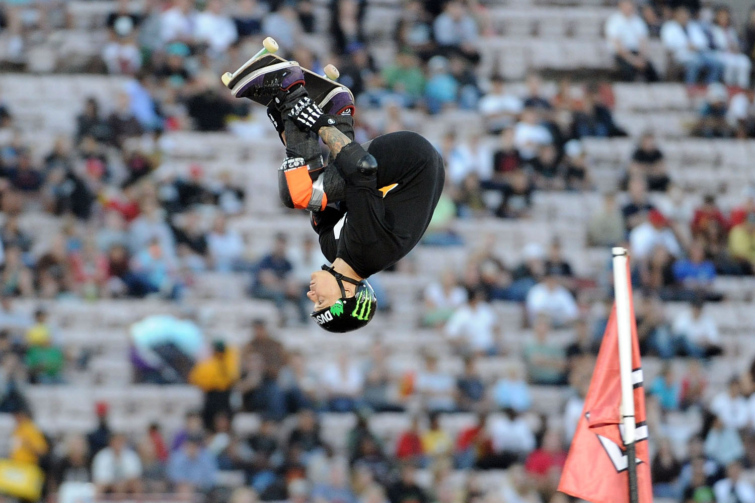 Jake Brown competes to a gold medal in the Skateboard Big Air final during X Games 16 at the LA Coliseum on July 29, 2010 in Los Angeles, California.