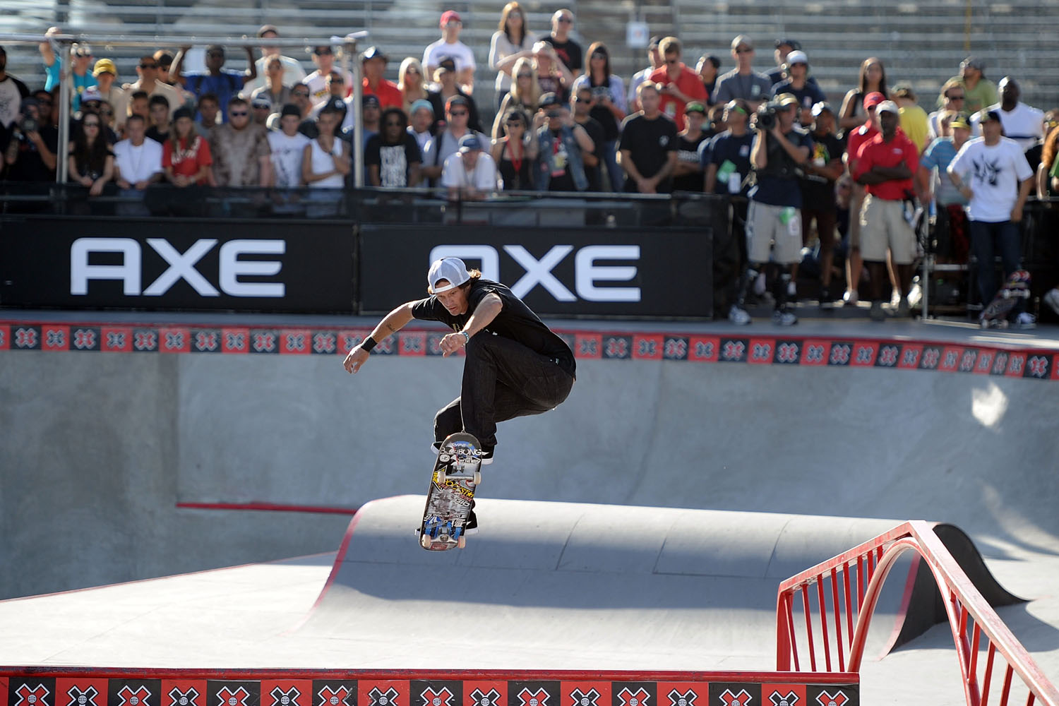Bucky Lasek competes in the Skateboard Park Final during X Games 16 at the Event Deck LA Live on August 1, 2010 in Los Angeles, California.