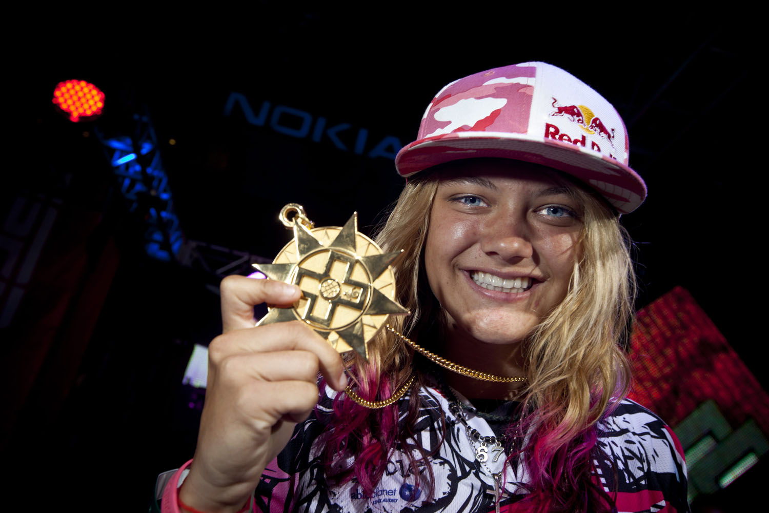 Ashley Fiolek wins gold in Women's Moto X during X Games 16 on July 29, 2010 in Los Angeles, California.
