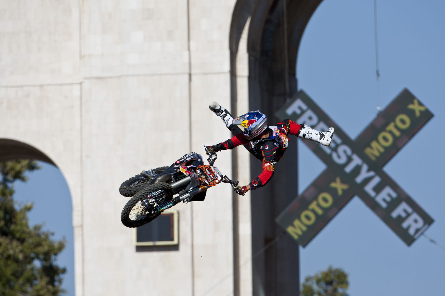 Mat Rebeaud busts out some crazy moves in the FMX Freestyle finals during X Games 16 on July 29, 2010 in Los Angeles, California.