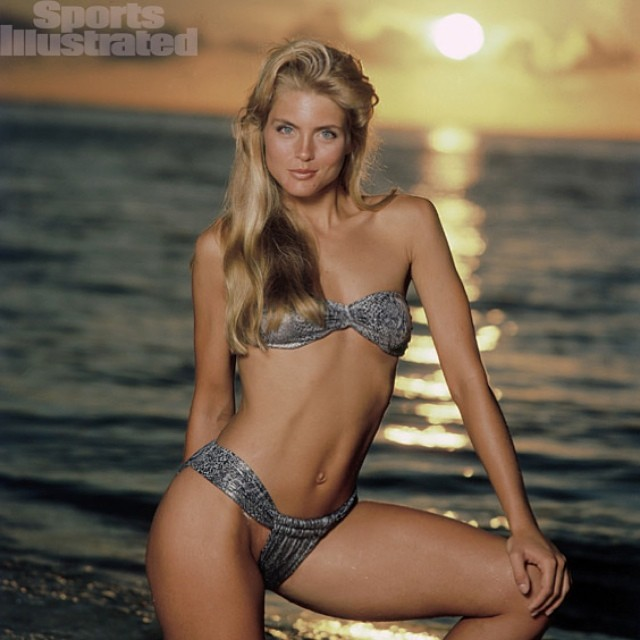 We continue our #WillySwim evolution of #swimwear trek into the #1980s with former #Wilhelmina #model, #KimAlexis, featured here in #SportsIllustrated's #SwimsuitIssue.