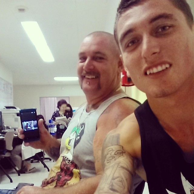 Instagram caption: Once again at my monthly check up with my big supporter, my Dad.