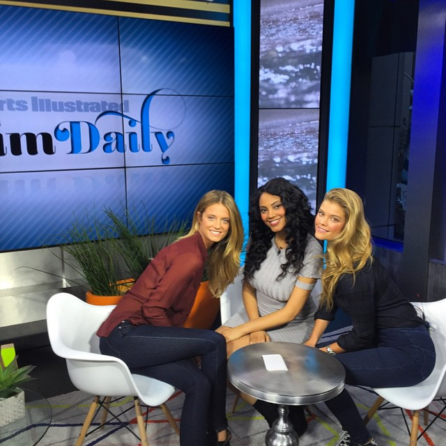 Lots of fun this afternoon with @ninaagdal and @1arielmeredith talking all sorts of things swimsuit with @si_swimsuit #swimdaily