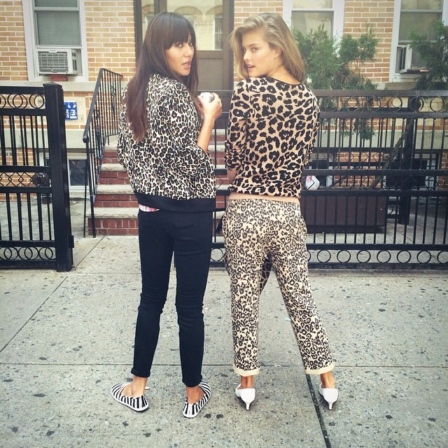 Literally SPOTTED @natalieoffduty and @ninaagdal striking a fierce pose on set at our fall #photoshoot.