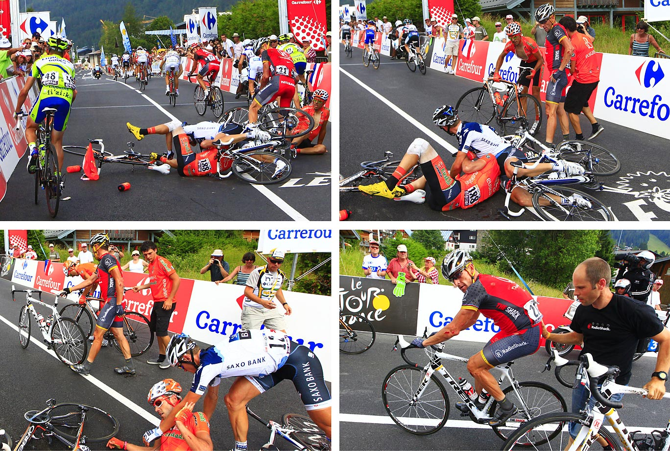 The sight was unusual, bordering on surreal. On the 2010 Tour's first day in high mountains, seven-time winner, erstwhile patron Lance Armstrong was suddenly unable to stay upright. The Texan crashed three times, then was dropped by his rivals on the final climb, finishing 12 minutes behind them. Literally and figuratively bloodied, his Tour was effectively over.