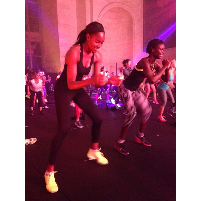 Rocking it all the way out with my girl @jeneilwilliams #nikewomen #NTC thanks for the photo Juliana!