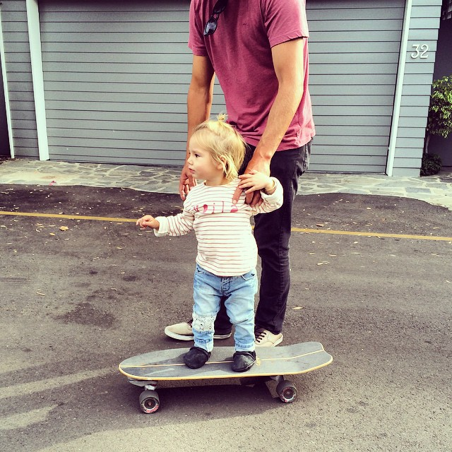 Nobody told me this is what happens at 19 months! They want to skateboard like dad?? @dannyfuller