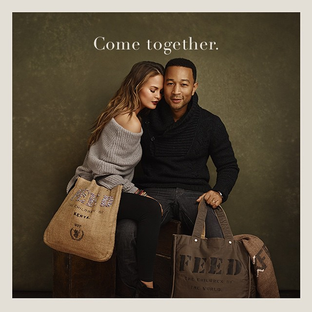 This holiday, @johnlegend and I are coming together with @feedprojects to help end world hunger. Our FEED bags, bracelets and scarf will provide 1,120 meals. How many meals will you give? #FEEDtogether www.feedprojects.com