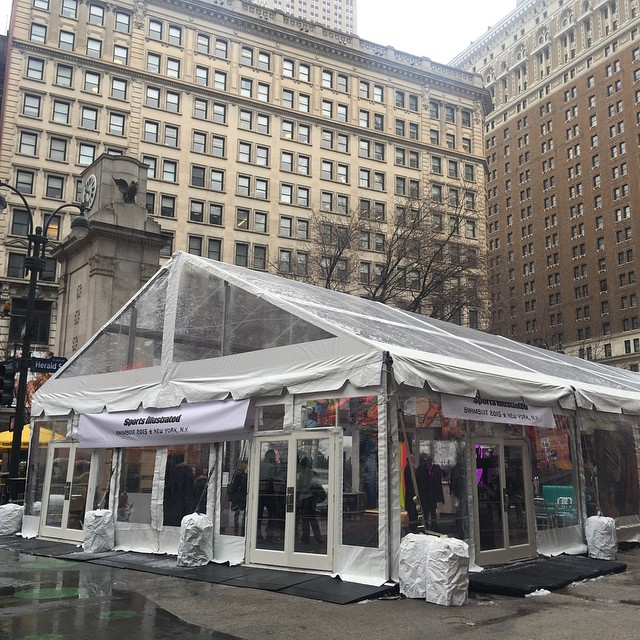 SNAP!!!! She's been erected! #SWIMCITY COME OUT AND PLAY 11am-5pm! Hot models and HEATERS to keep you dry and warm :):):) #siswim